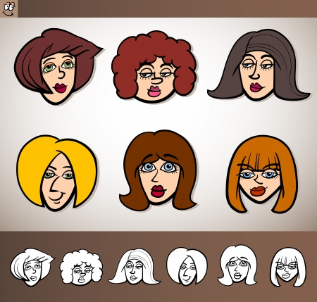 caricature woman: Cartoon Illustration of Funny People Set with Women Heads plus Black and White versions