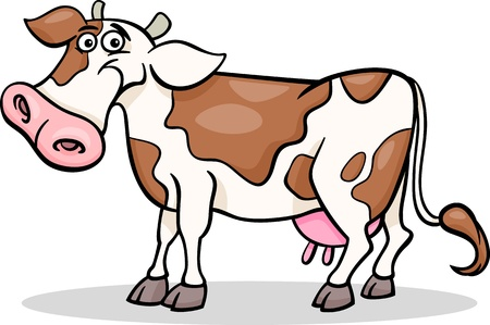 milker: Cartoon Illustration of Funny Spotted Cow Farm Animal