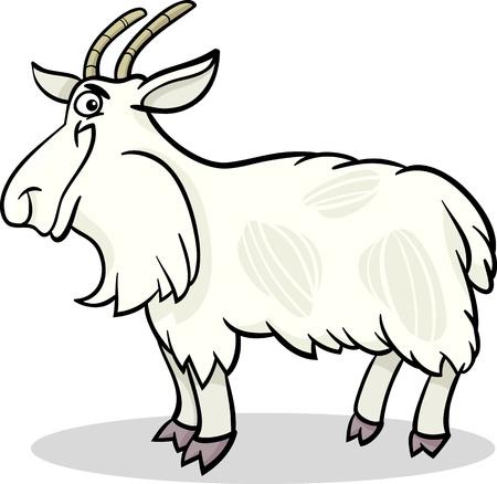 shaggy: Cartoon Illustration of Funny Hairy Goat Farm Animal