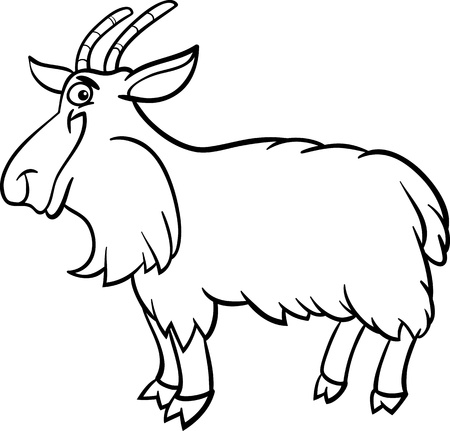 smiling goat: Black and White Cartoon Illustration of Funny Hairy Goat Farm Animal for Coloring Book