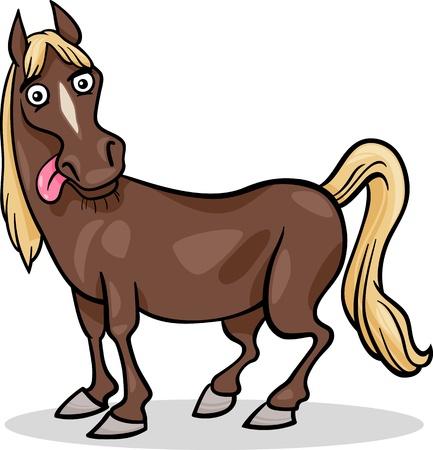 Ilustración de dibujos animados Funny Animal Horse Farm