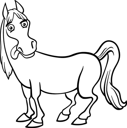 Black and White Cartoon Illustration of Funny Horse Farm Animal for Coloring Book Stock Vector - 17709720