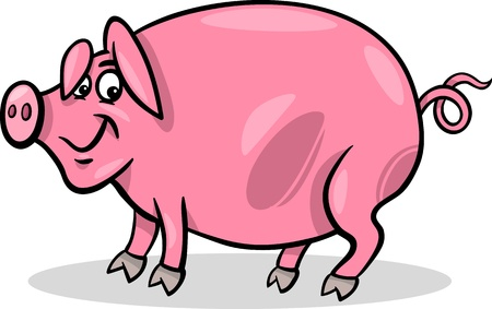 Cartoon Illustration of Funny Pig Farm Animal