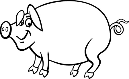 porker: Black and White Cartoon Illustration of Funny Pig Farm Animal for Coloring Book Illustration