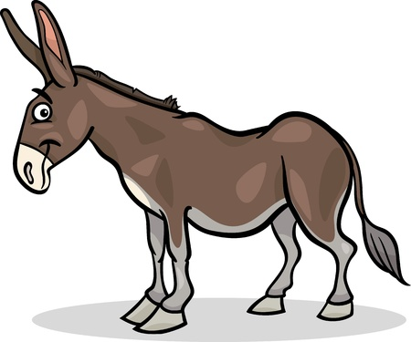 Cartoon Illustration of Funny Donkey Farm Animal Vector