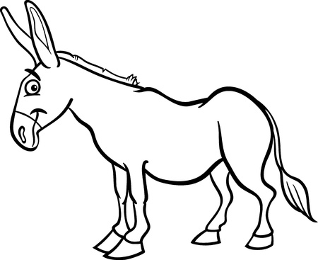 mule: Black and White Cartoon Illustration of Funny Donkey Farm Animal for Coloring Book Illustration