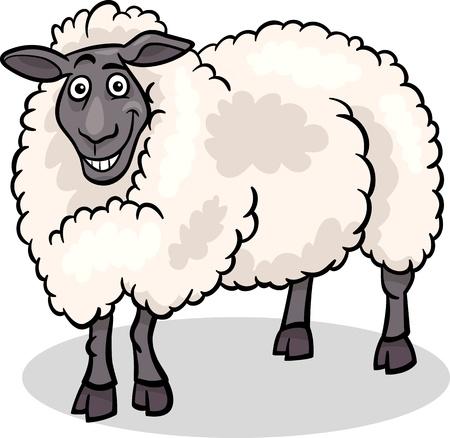 Cartoon Illustration of Funny Sheep Farm Animal Vector
