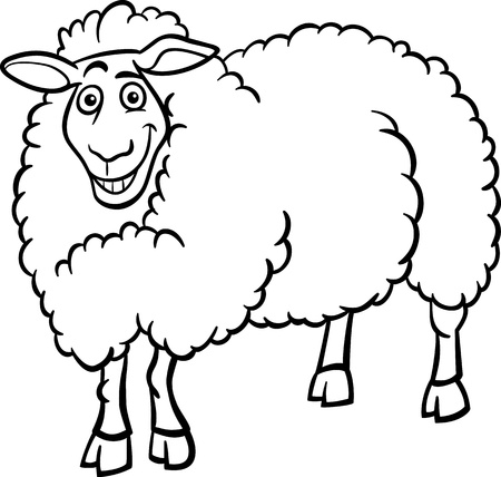 funny farm: Black and White Cartoon Illustration of Funny Sheep Farm Animal for Coloring Book
