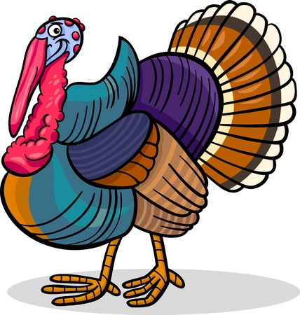funny turkey: Cartoon Illustration of Funny Turkey Farm Bird Animal