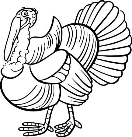Black and White Cartoon Illustration of Funny Turkey Farm Bird Animal for Coloring Book Illustration