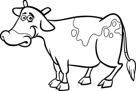 hoof: Black and White Cartoon Illustration of Funny Cow Farm Animal for Coloring Book