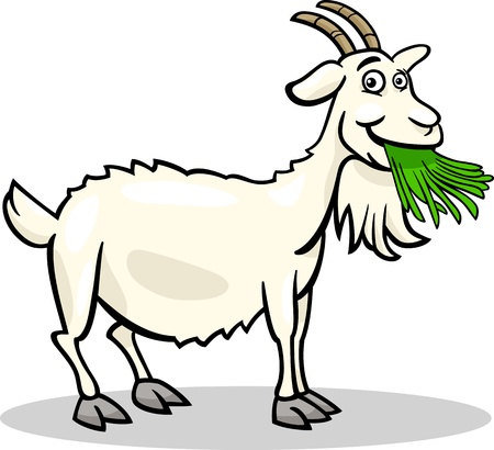 Cartoon Illustration of Funny Goat Farm Animal Illustration