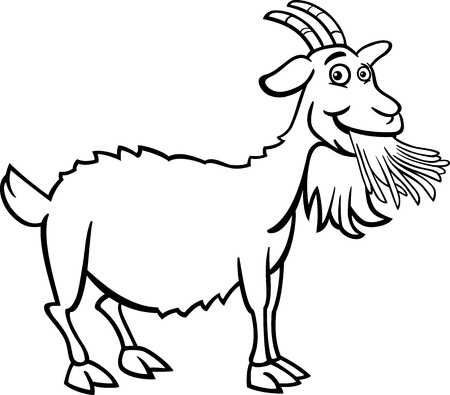 smiling goat: Black and White Cartoon Illustration of Funny Goat Farm Animal for Coloring Book