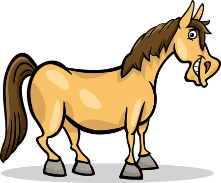 Cartoon Illustration of Funny Horse Farm Animal Vector