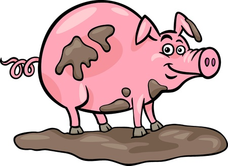 porker: Cartoon Illustration of Funny Pig Farm Animal in Mud