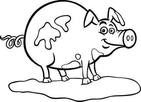 pig tails: Black and White Cartoon Illustration of Funny Pig Farm Animal in Mud for Coloring Book Illustration