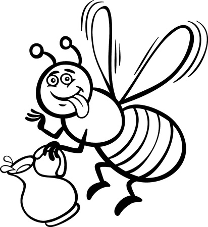 Black and White Cartoon Illustration of Funny Bee with Pot of Honey or Nectar for Coloring Book Vector