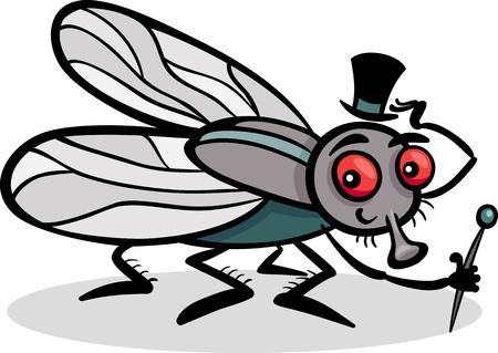 mosca caricatura: Ilustración de la historieta de Funny or Fly Mosca doméstica con sombrero y bastón