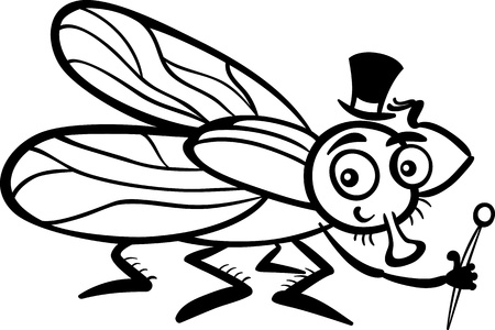 housefly: Black and White Cartoon Illustration of Funny Fly or Housefly with Hat and Cane for Coloring Book
