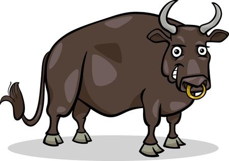 bull cartoon: Cartoon Illustration of Funny Bull Farm Animal