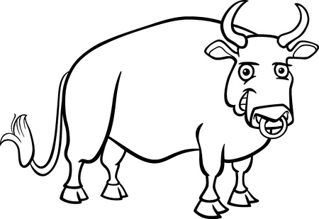 bullock animal: Black and White Cartoon Illustration of Funny Bull Farm Animal for Coloring Book