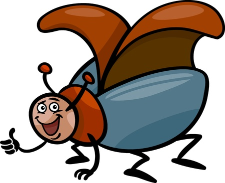 coleopter: Cartoon Illustration of Funny Beetle or Cockchafer Insect