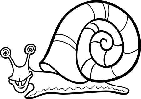 Black and White Cartoon Illustration of Funny Snail Mollusk with Shell for Coloring Book Vector