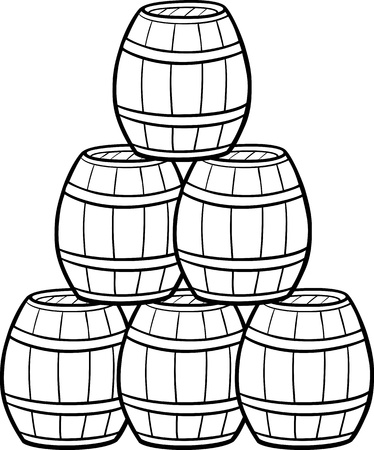 keg: Black and White Cartoon Illustration of Wooden Barrels in a Heap
