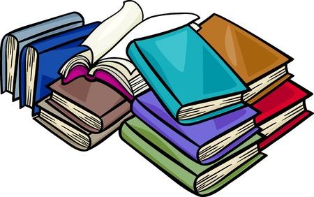 diccionarios: Cartoon ilustraci�n de libros en un mont�n Vectores
