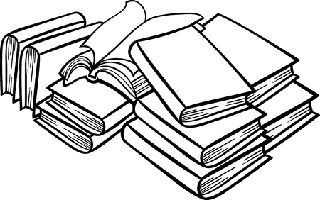 zwart wit tekening: Zwart-wit Cartoon Illustratie van Boeken in een Heap