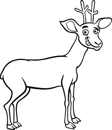 black deer: Black and White Cartoon Illustration of Funny Wild Deer Animal for Coloring Book