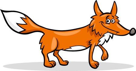 Cartoon Illustration of Funny Wild Fox Animal Illustration