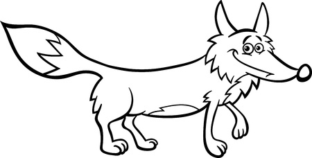 black fox: Black and White Cartoon Illustration of Funny Wild Fox Animal for Coloring Book Illustration
