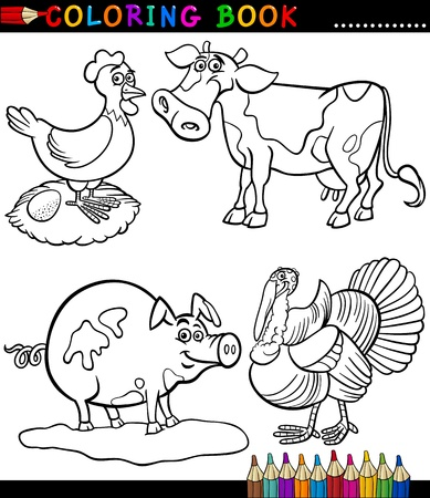 Black And White Coloring Book Or Page Cartoon Illustration Set ...