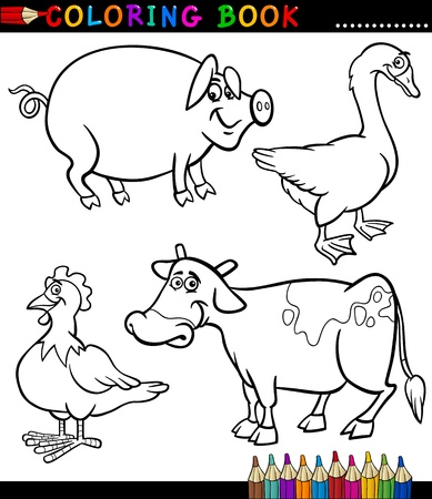 coloring book page: Black and White Coloring Book or Page Cartoon Illustration Set of Funny Farm and Livestock Animals for Children Illustration