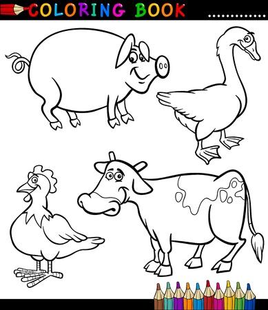 dibujos para colorear: Coloring Book en blanco y negro de dibujos animados o Set Page Ilustraci�n de Funny Farm y ganado para la Infancia Vectores