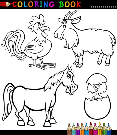 Black and White Coloring Book ou P�gina Ilustra��o dos desenhos animados Set de Funny Farm e Pecu�ria Animals para Crian�as