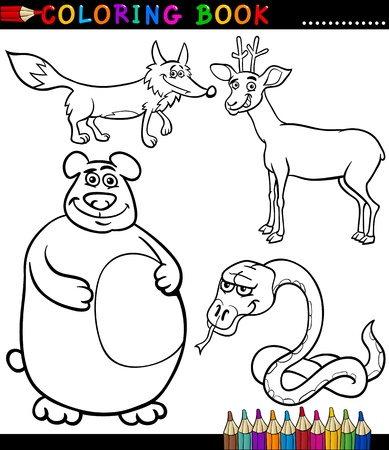 Black and White Coloring Book or Page Cartoon Illustration Set of Funny Wild Animals for Children Vector