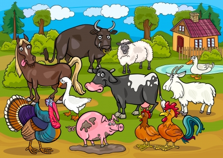Cartoon Illustration of Country Scene with Farm Animals Livestock Big Group
