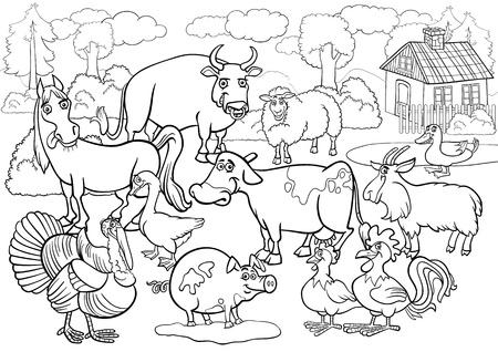 dibujos para colorear: Historieta blanco y negro Ilustración de la escena del país con el Grupo de Ganadería Animales de granja grande para Coloring Book