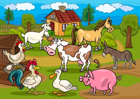 house donkey: Cartoon Illustration of Rural Scene with Farm Animals Livestock Big Group
