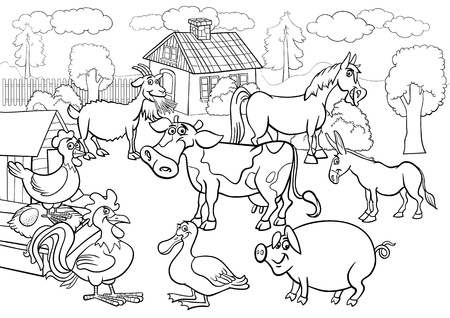 Illustration de dessin anim� en noir et blanc de la Sc�ne rurale avec des fermes d'�levage Animaux Group Big Coloring Book