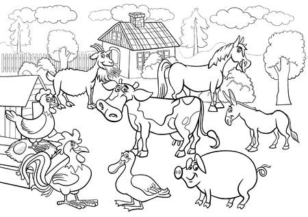 Zwart-wit Cartoon illustratie van landelijke scène met boerderij dieren vee grote groep voor kleurboek