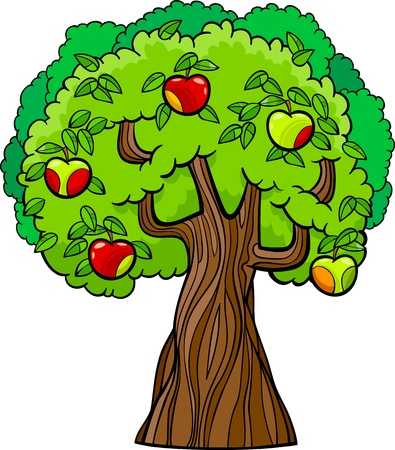 orchard fruit: Cartoon Illustration of Apple Tree with Juicy Apples