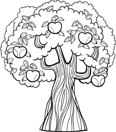 albero di mele: Bianco e nero fumetto illustrazione di Apple Tree con Mele per Coloring Book
