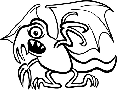 Black and White Cartoon Illustration of Scary Basilisk Monster Creature for Coloring Book Vector