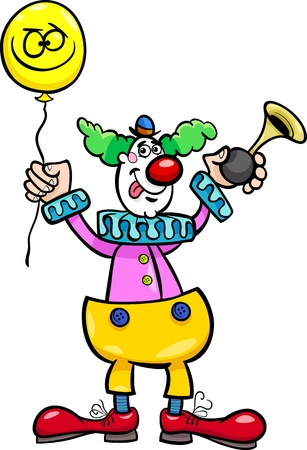 Cartoon Illustration of Funny Clown with Balloon and Air Horn Stock Vector - 18032322