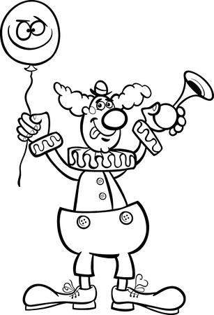 Historieta blanco y negro Ilustración de la divertida del payaso con globos y el Cuerno de aire para Coloring Book