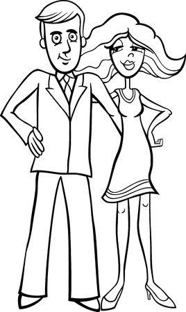 black man white woman: Black and White Cartoon Illustration of Pretty Woman and Handsome Man Cute Couple for Coloring