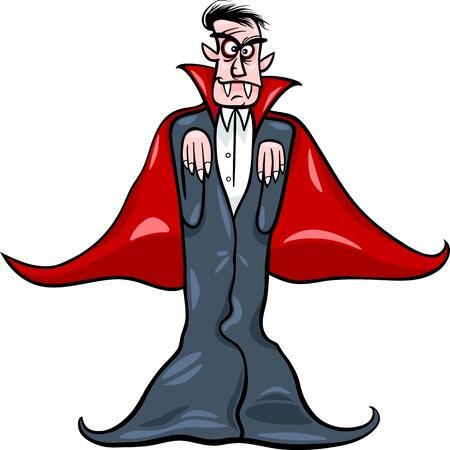 dreadful: Cartoon Illustration of Scary Count Dracula Vampire